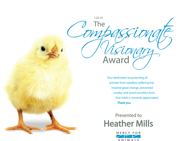 2010 Compassionate Visonrary Award presented to Heather Mills