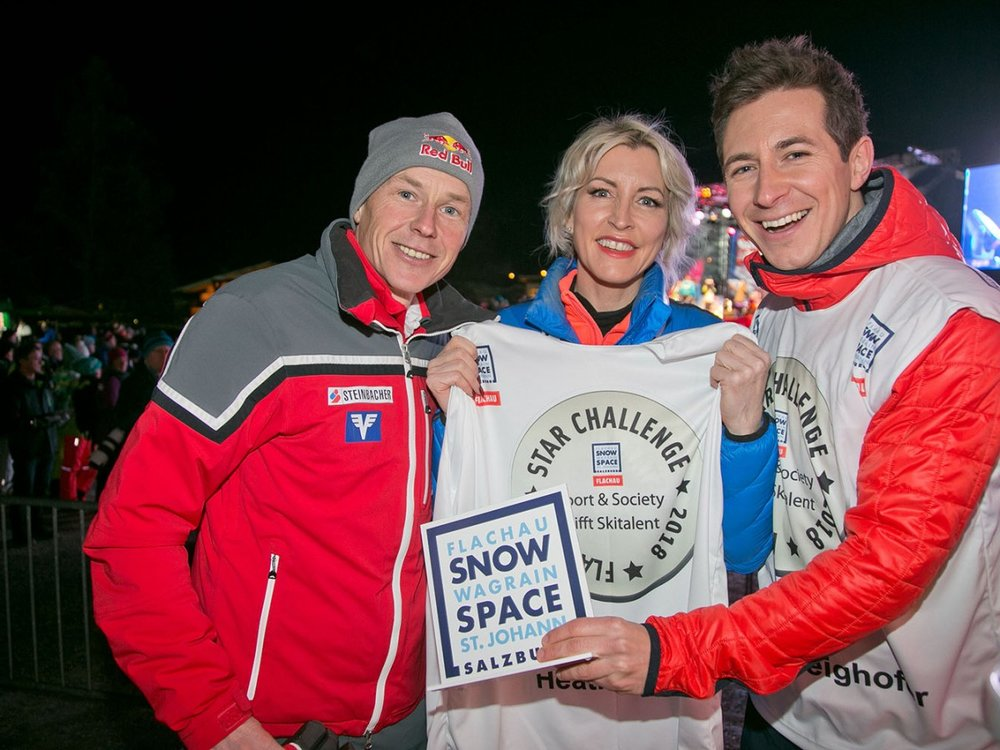 Left to right: Champion ski jumper and flyer Andreas GoldBerger (Flying up to 202 metres) Heather Mills & Radio, Television and Sports presenter Lukas Schweighofer.