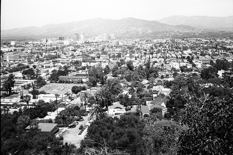 Glendale, CA from Glendale Memorial. Michael Jackson rests here. FP4 Plus shot on Olympus XA2