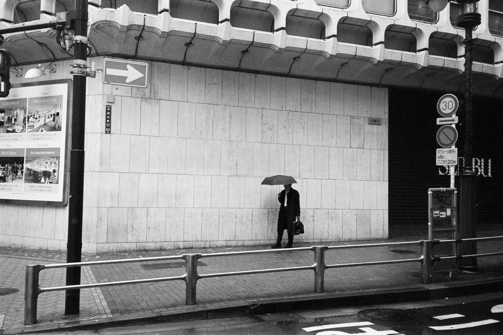 Expired Neopan 400 - Rainy morning in Shibuya, Tokyo - April 2016