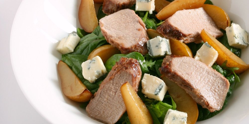 Combi Steam Pork and Pear Salad with Gorgonzola Cheese