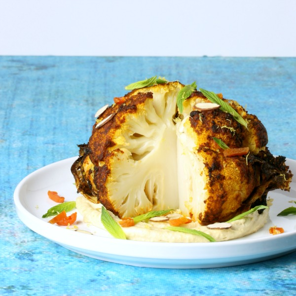 Whole Combi Steam Cauliflower with Spices, Almonds and Apricots