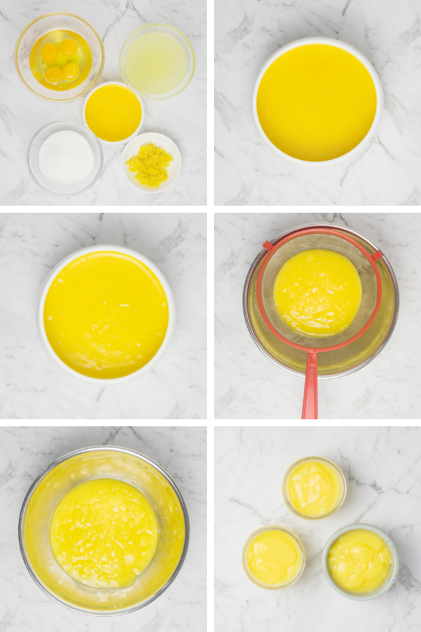 How-to steps for making steamed lemon curd.