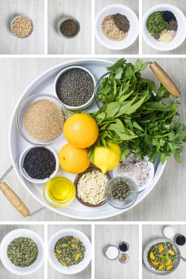 Ingredients and process for making lentil, grain and herb salad with orange.