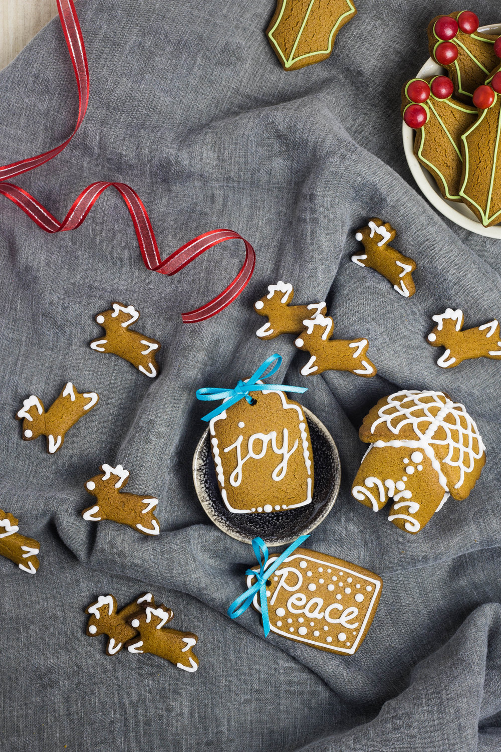 Assorted decorated gingerbread cookies, displayed in small bowls or on a folded gray cloth, with red and blue ribbons.