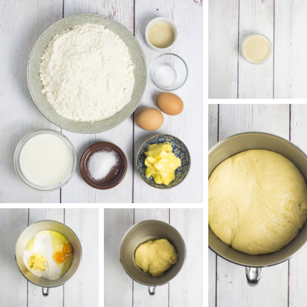 Step by step photos for making cinnamon roll dough.