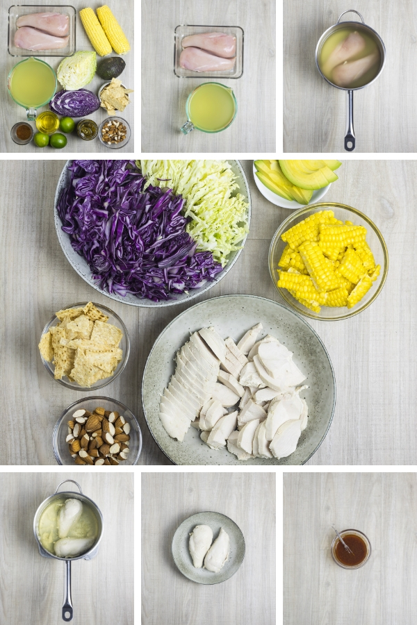 Mexican chicken salad process, step by step.