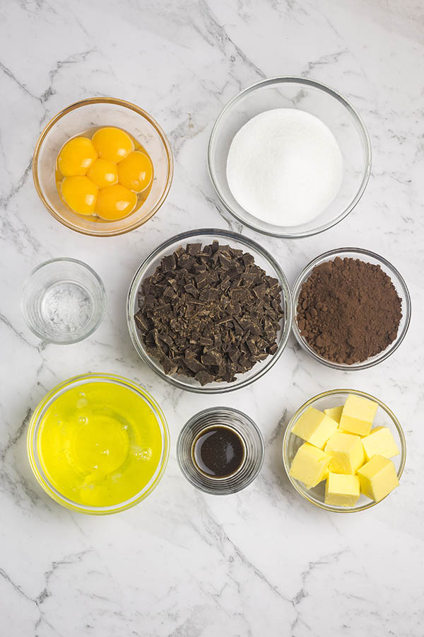 Ingredients for making flourless chocolate cake, set out in bowls: eggs, chocolate, sugar, salt, cocoa powder, vanilla, butter.
