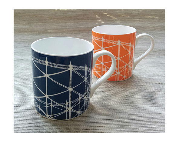 'Gasholder' mugs in navy and orange