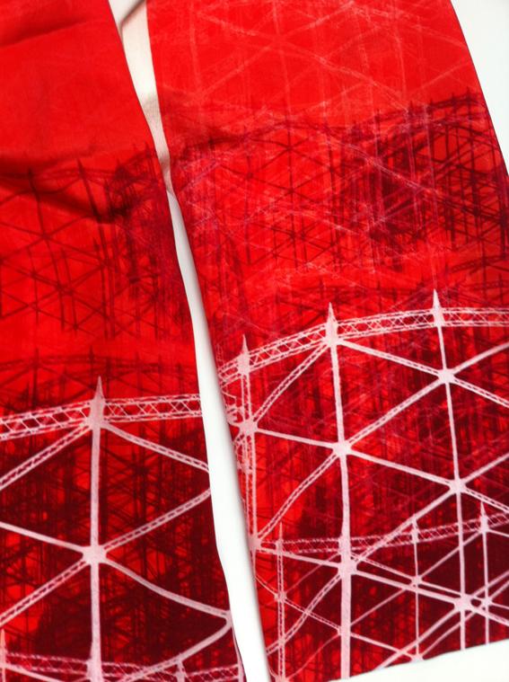 Jo Angell 'Gasholder no1' silk scarf red.jpg