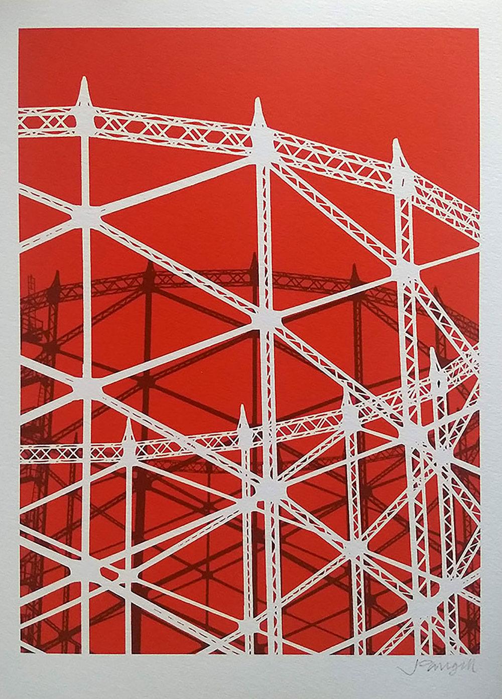 Hornsey Gasholder Red Giclee Print