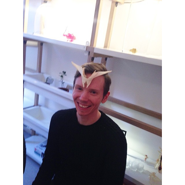 "@calumross88 created super cool ""headpiece"" out of fishbones at #hudgetta workshop. #2015sdw #2015sff #2015wlh"