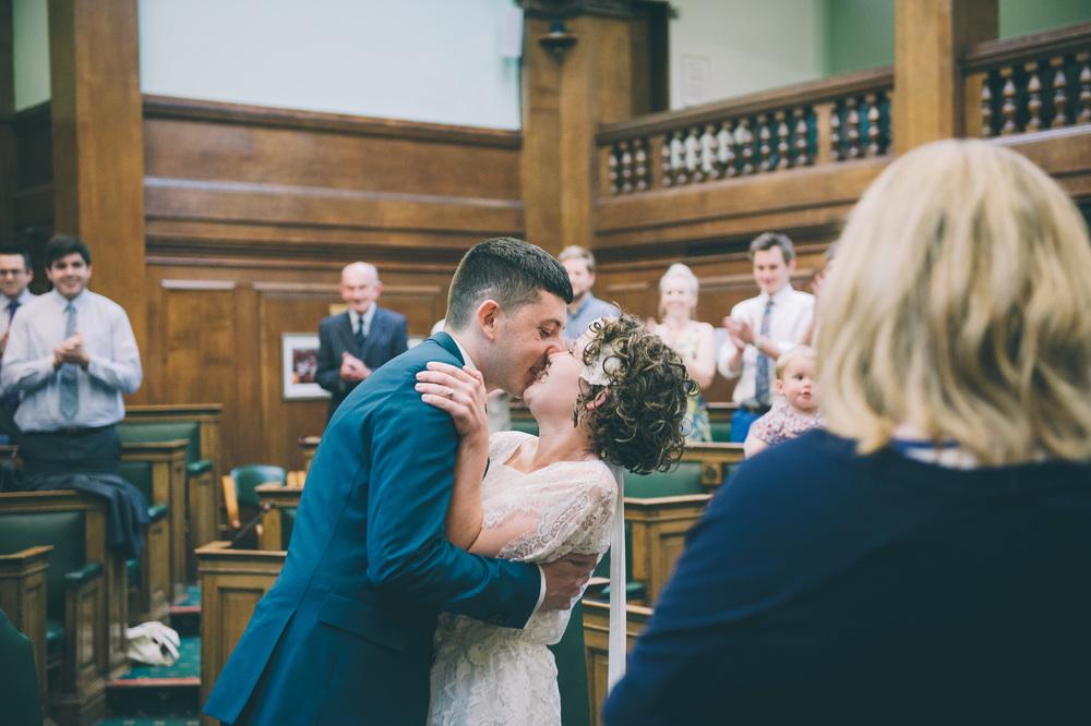 Camden town hall wedding kiss