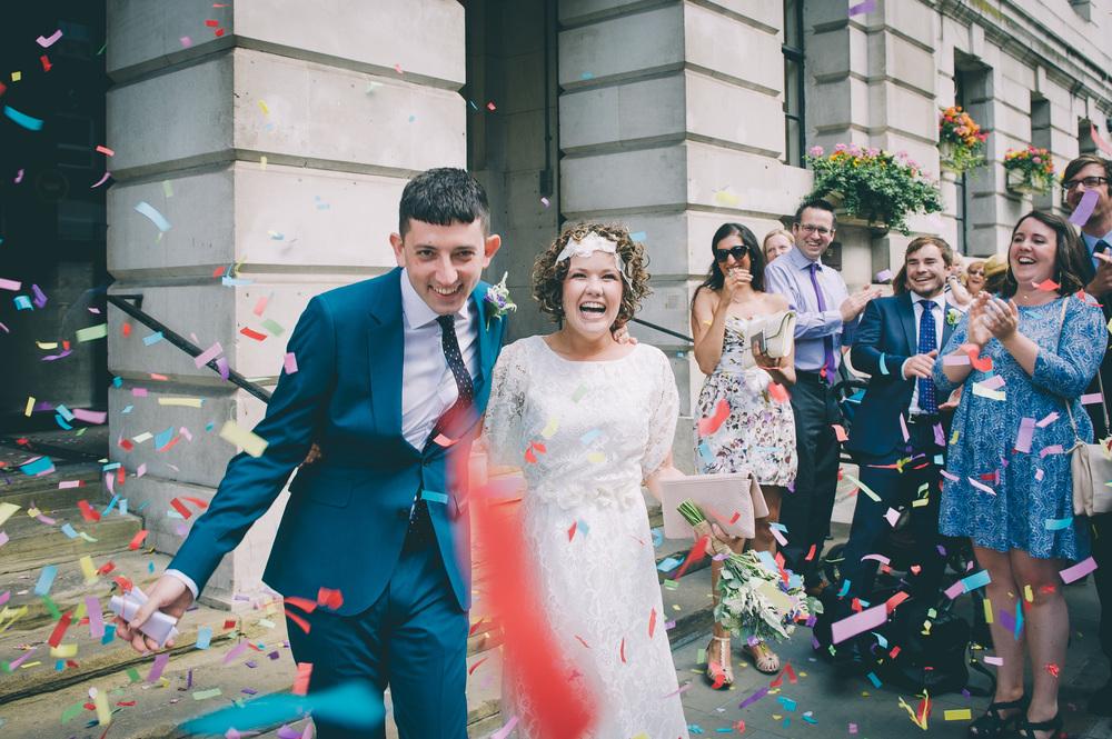 Camden Town Hall London Wedding confetti