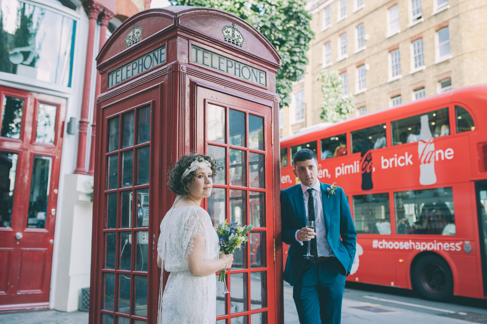 London wedding red phone box red bus
