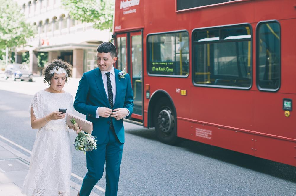 London wedding double decker bus