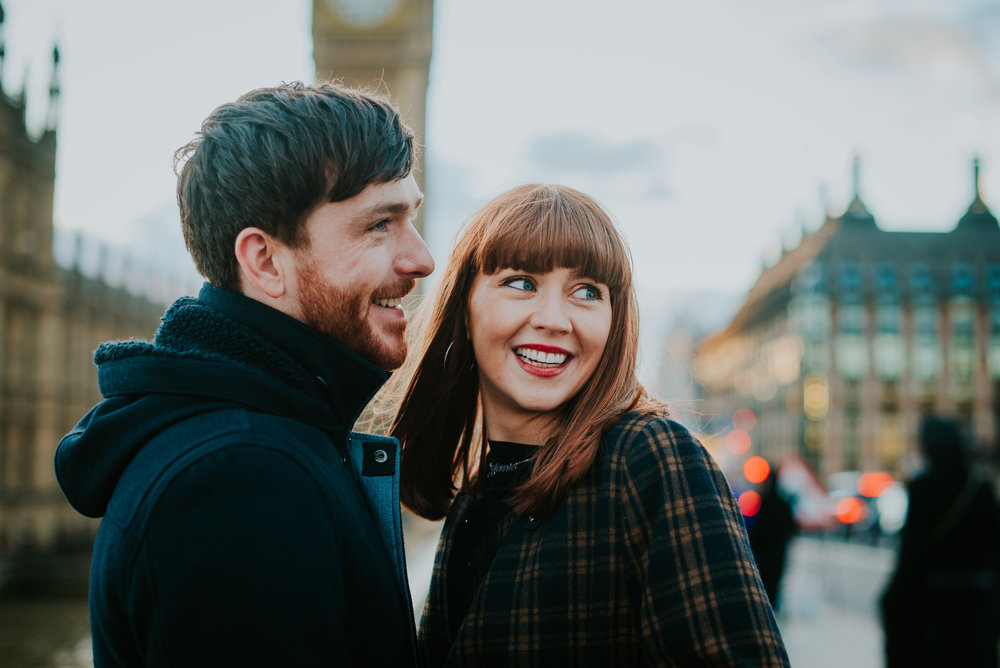 Engaged couple in love at Big Ben London
