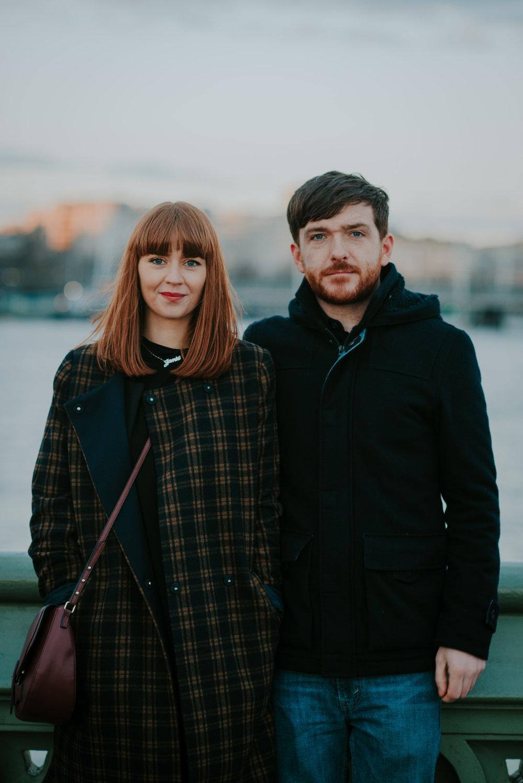 Engaged couple on Westminster Bridge London