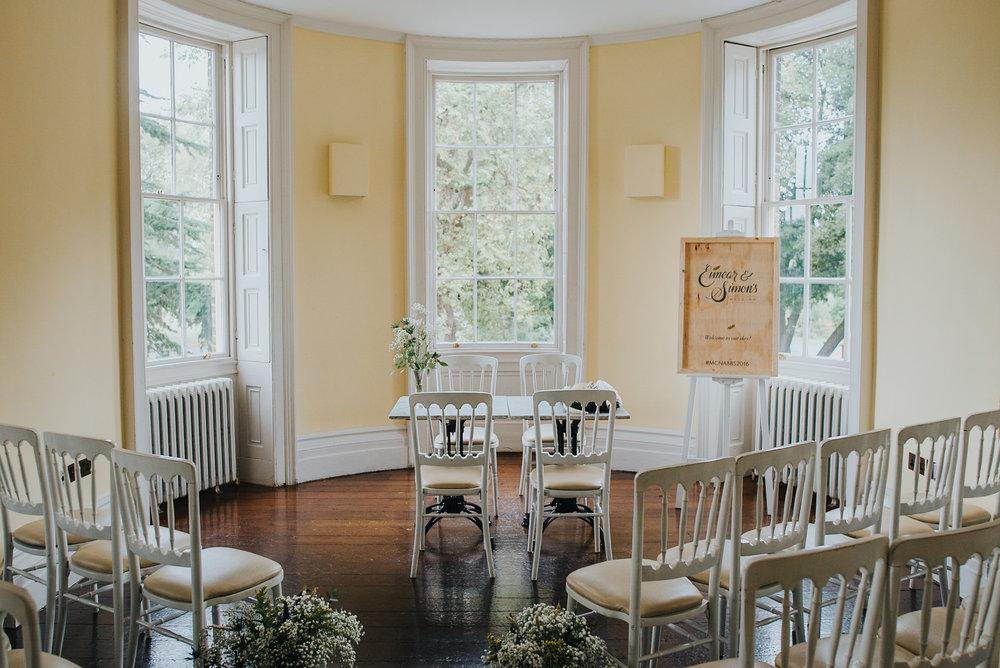 Interior of Clissold House London wedding ceremony room