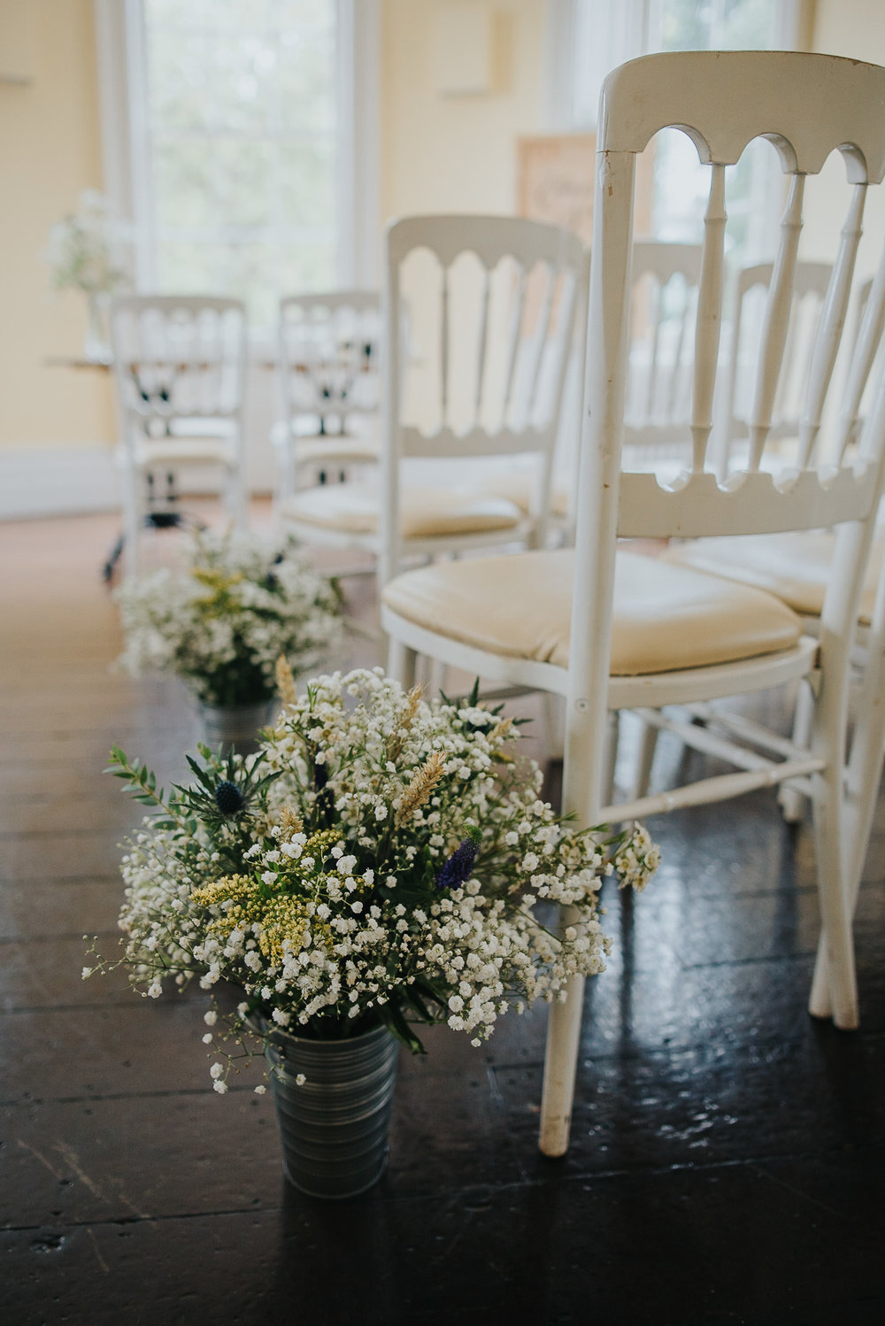 Details of wedding flowers at Clissold House London