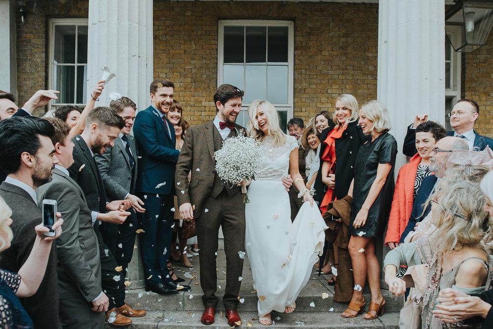 Wedding confetti shot outside Clissold House London