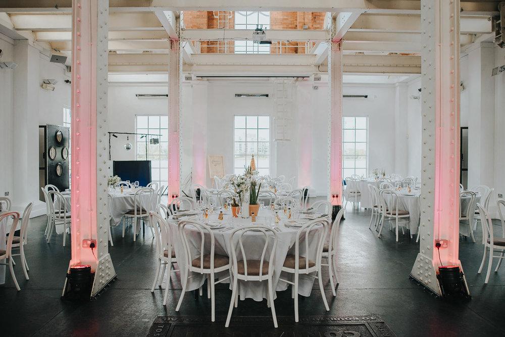 Wedding reception tables at Stoke Newington West Reservoir Centre