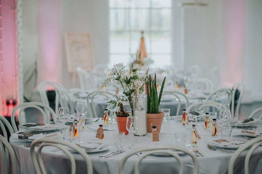 Wedding reception table details at Stoke Newington West Reservoir Centre