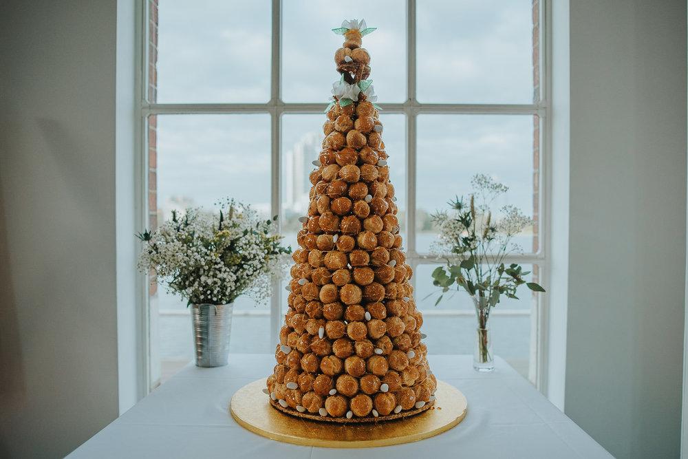 Croque Monsieur alternative wedding cake at Stoke Newington West Reservoir Centre
