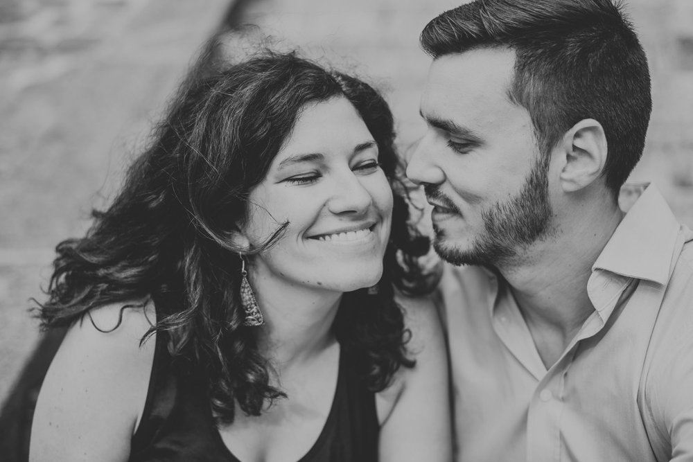black and white image of man and woman in love smiling