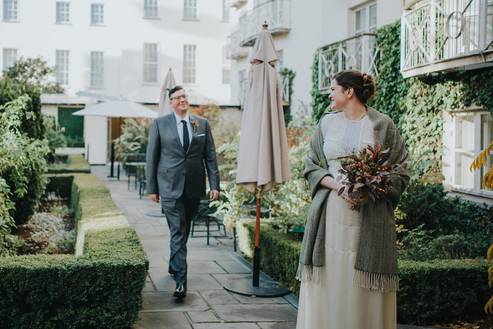 Bride and groom having their first look before their wedding ceremony in Dublin