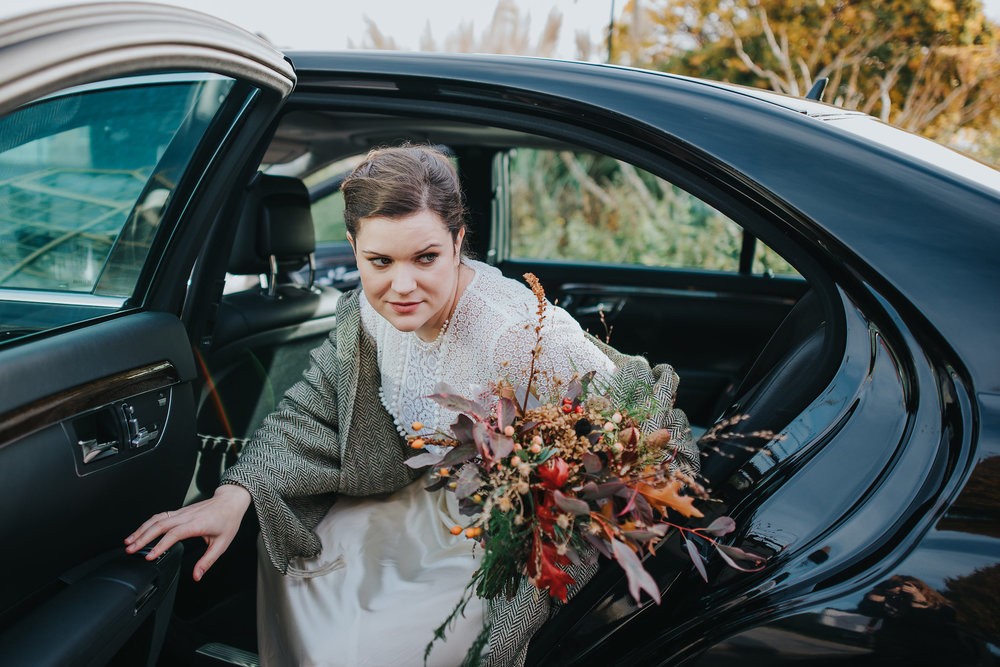 Bride getting out of her wedding transport at the Botanic Gardens in Dublin