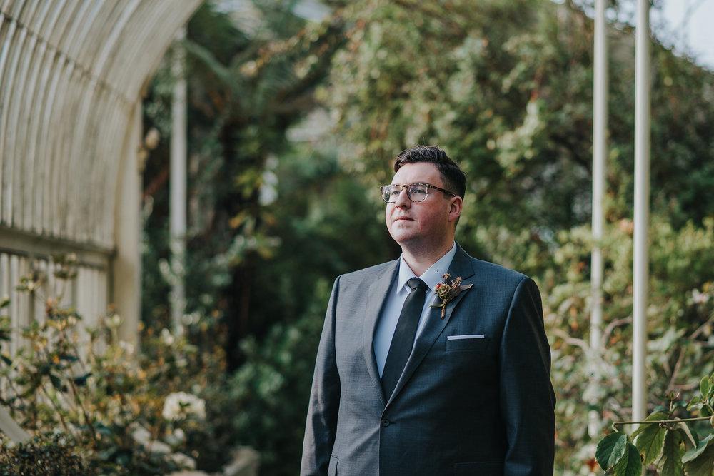 Groom at the Botanic Gardens Dublin on his wedding day
