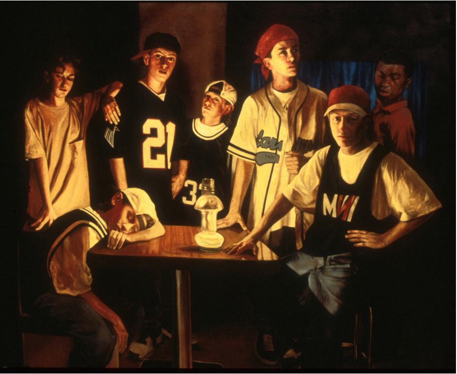 Hip Hop Boys, oil on canvas, 54 x 66 in.