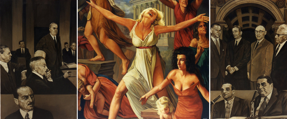Rape of the Sabine Women, triptych, oil on canvas, 108 x 68 in.