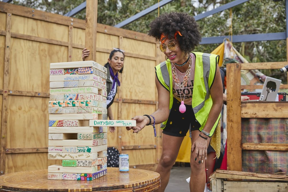 Getting the jenga games started at Dirtybird Campout East!