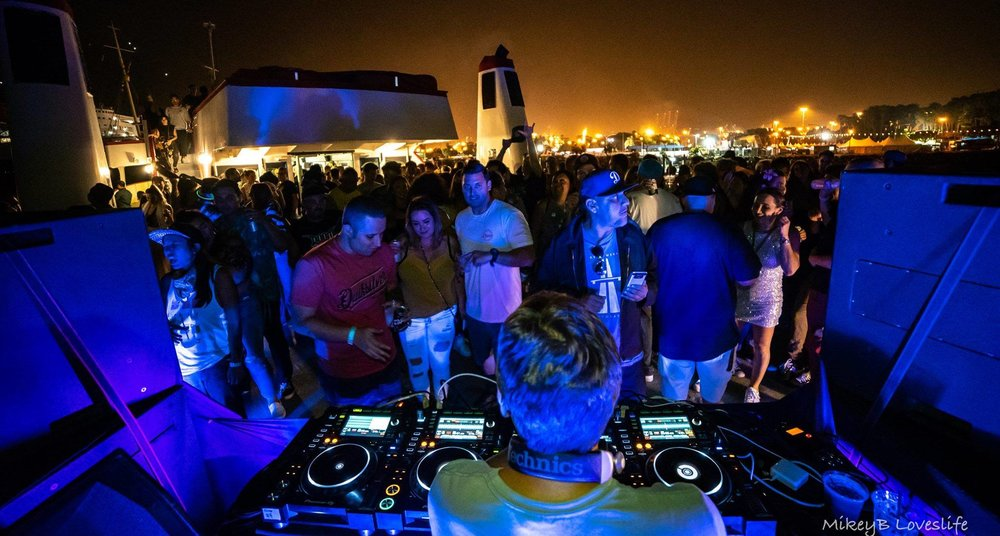 Ben Annand DJing at Tropical Boat Party 2018