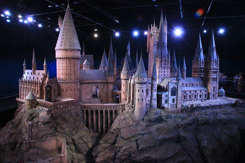 The 1:24 scale Hogwarts model used for filming on display at Warner Bros. Studios, Leavesden, for The Making of Harry Potter studio tour. Image courtesy of Karen Roe (CC Lisence - Attribution):  The making of Harry Potter 29-05-2012.