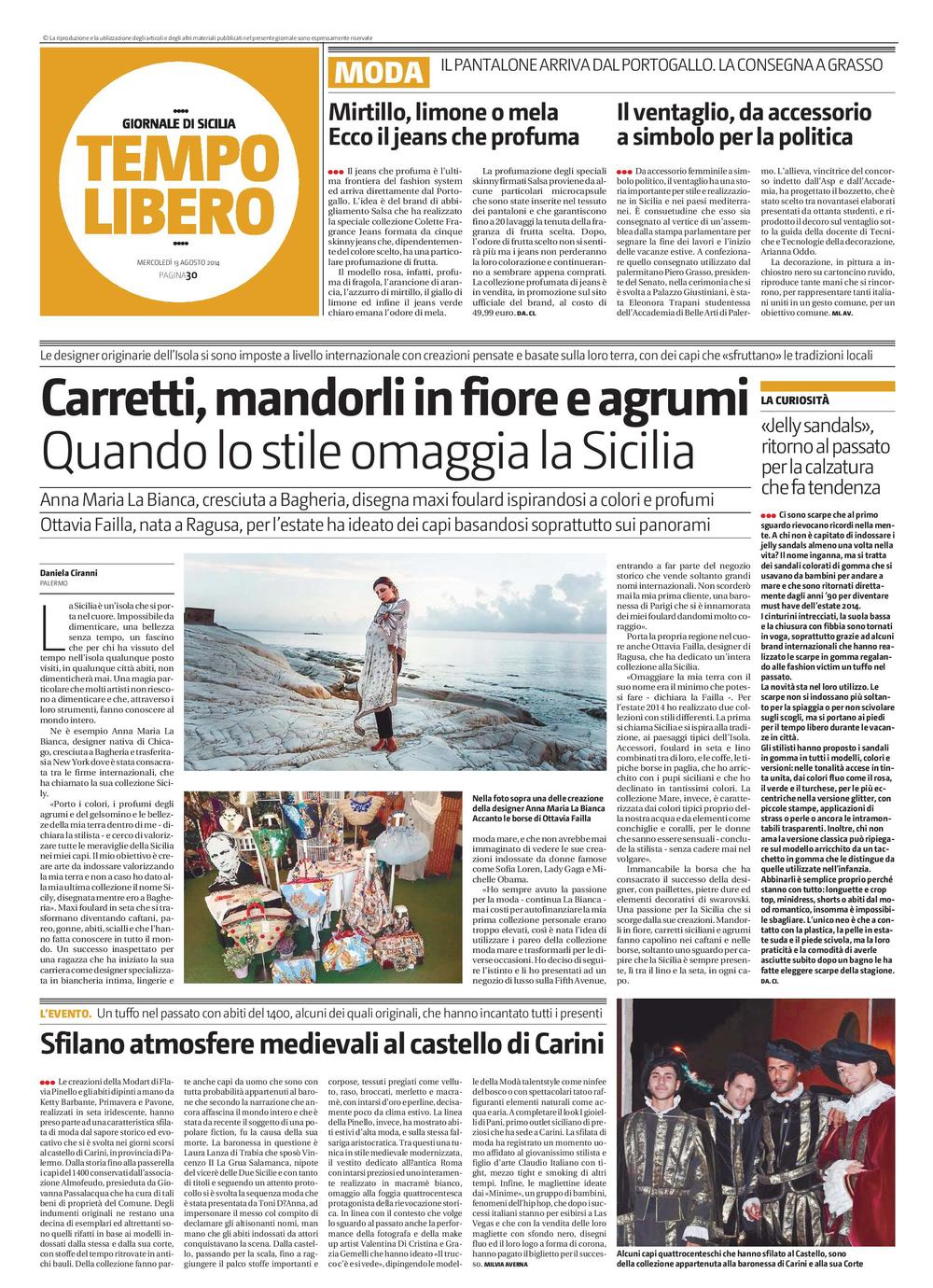 August 13 2014 Giornale Di Sicilia by Daniela Ciranni.jpg