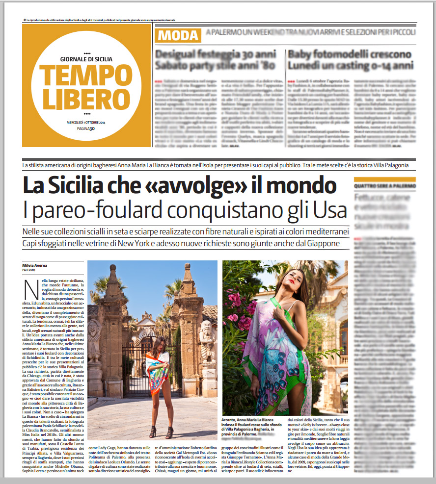 Giornale Di Sicilia October 1 2014 by Milvia Averna.jpg