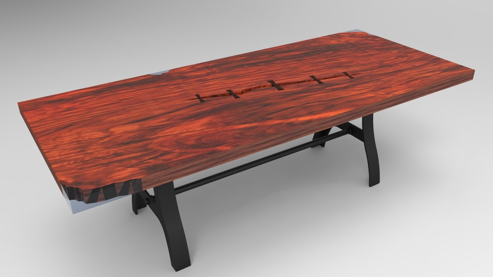 A rendering of the table highlighting the resin corners and bow tie joints.