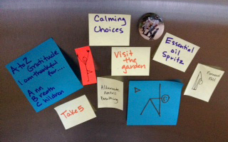 Calming choice post-it's to pick from in stressful situations.
