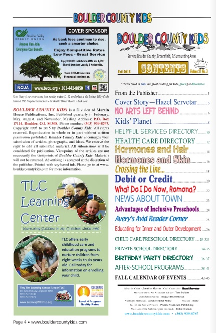 Find TLC in the  boulder county kids fall 2015 issue