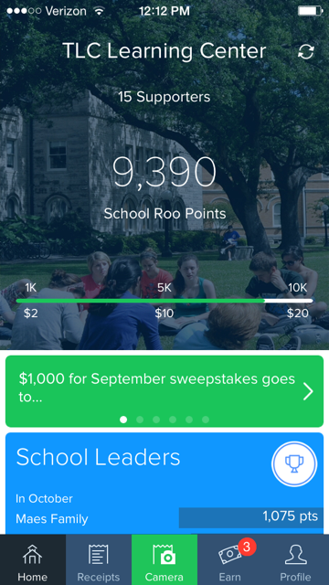 "The Shoparoo app for TLC Learning Center on an iPhone. Keep track of how much your support earns for TLC! (You can enter your name or enter as ""anonymous,"" and all receipt information is confidential)"