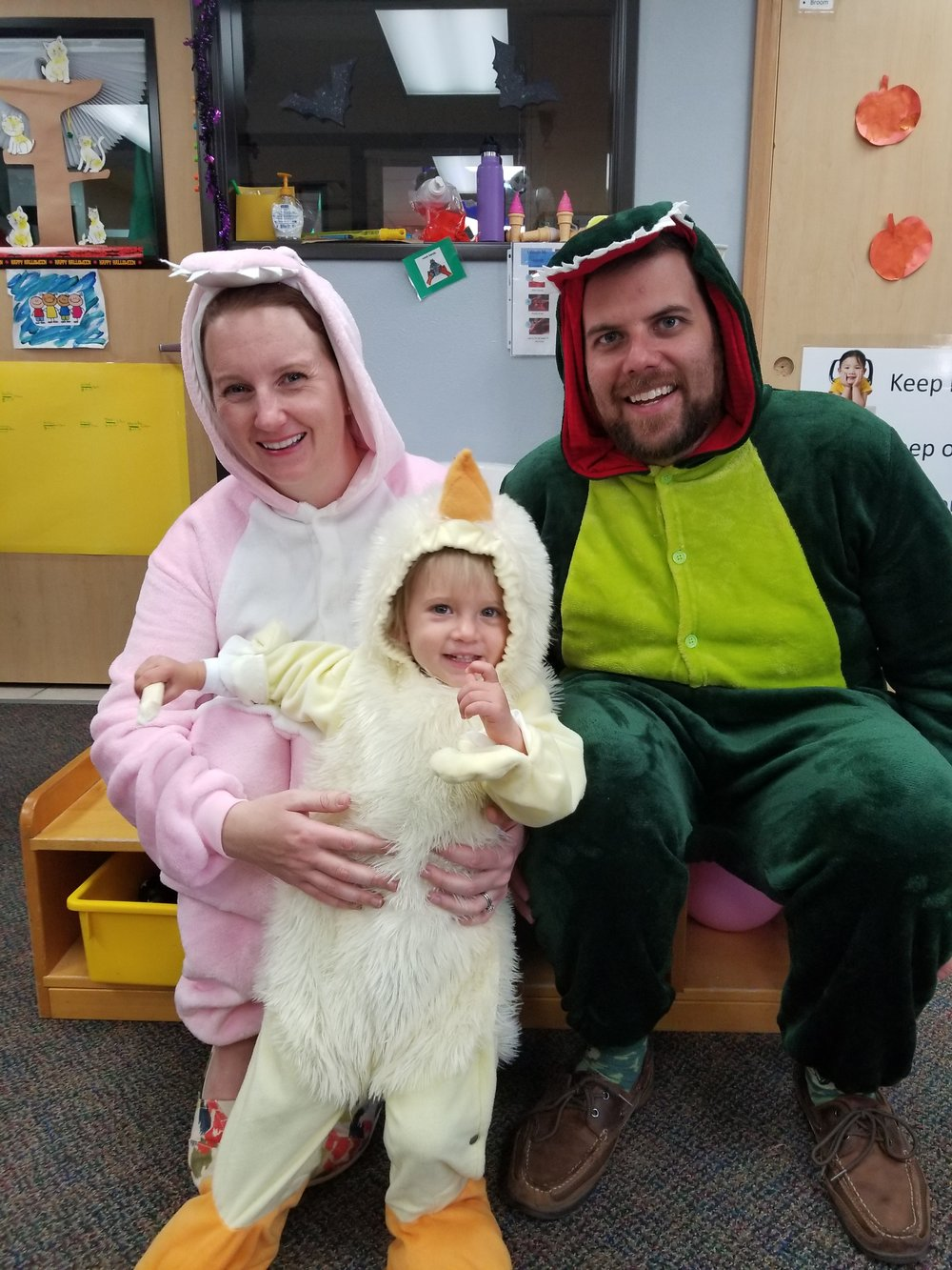 Riley and her parents enjoyed the toddler costume party together last October.