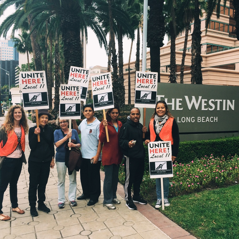 Westin Long Beach workers and supporters picket the hotel on 3/20/2015