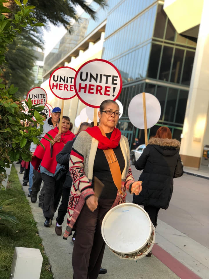Workers picket at the Hilton Anaheim in December 2018.