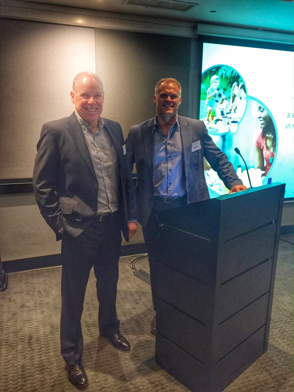 Astrapak CEO Robin Moore (left) and Managing Director Manley Diedloff at Astrapak Limited's Annual Results Presentation to shareholders and analysts in Johannesburg on Wednesday 20 April.