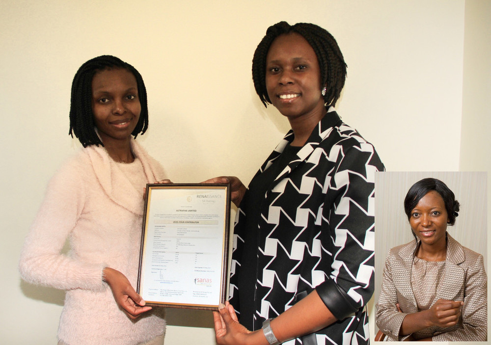 Astrapak Group Financial Manager and Company Secretary, Salome Ratlhagane; Astrapak Group Procurement Analyst, Lungile Hlope; and Astrapak Group Training Manager, Hangwelani Dlamini (inset) accept the Level 4 Contributor B-BBEE Certificate for Astrapak Limited.
