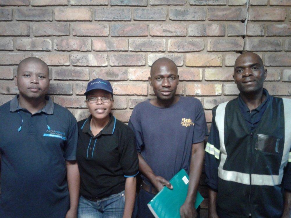 Marcom Plastics learners, from left:Petrus Tshotetsi;Salome Motubatse;Benson Hlongwane;Abram Ndou.