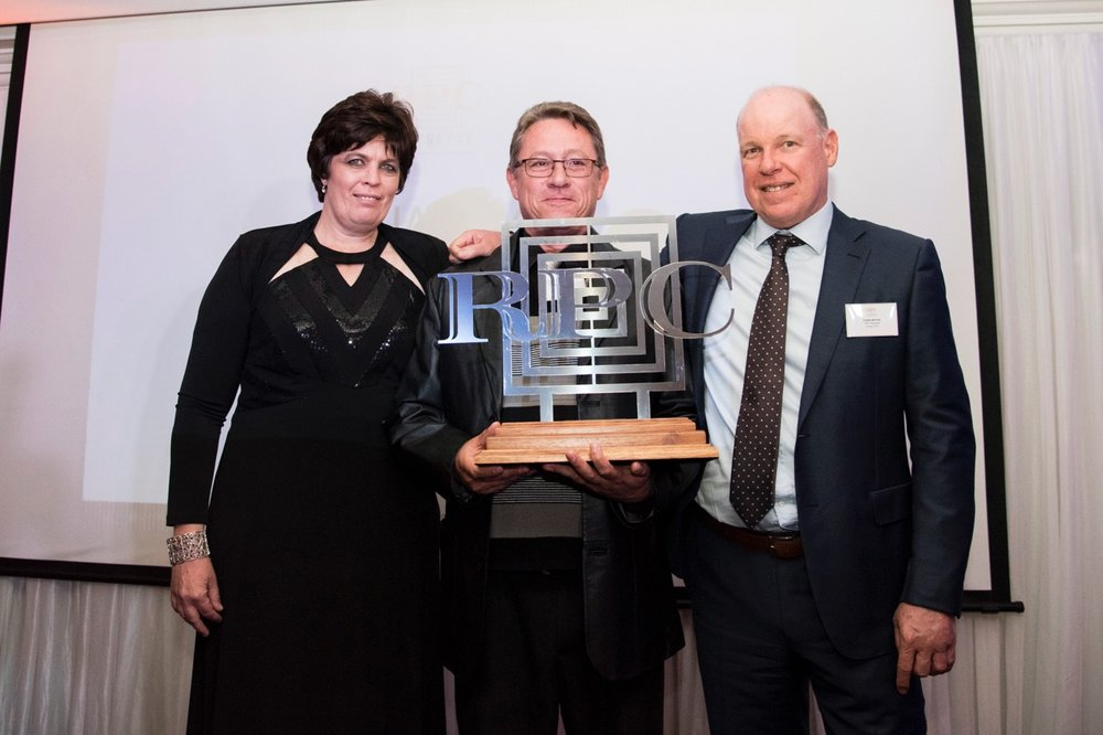 In addition, RPC Astrapak Marcom were also awarded the  QUALITY: SHEQ Manager of the Year  award, which went to Gert van der Berg, flanked by Helmien Raath (Group SHEQ Manager, left) and Robin Moore (Group CEO, right).